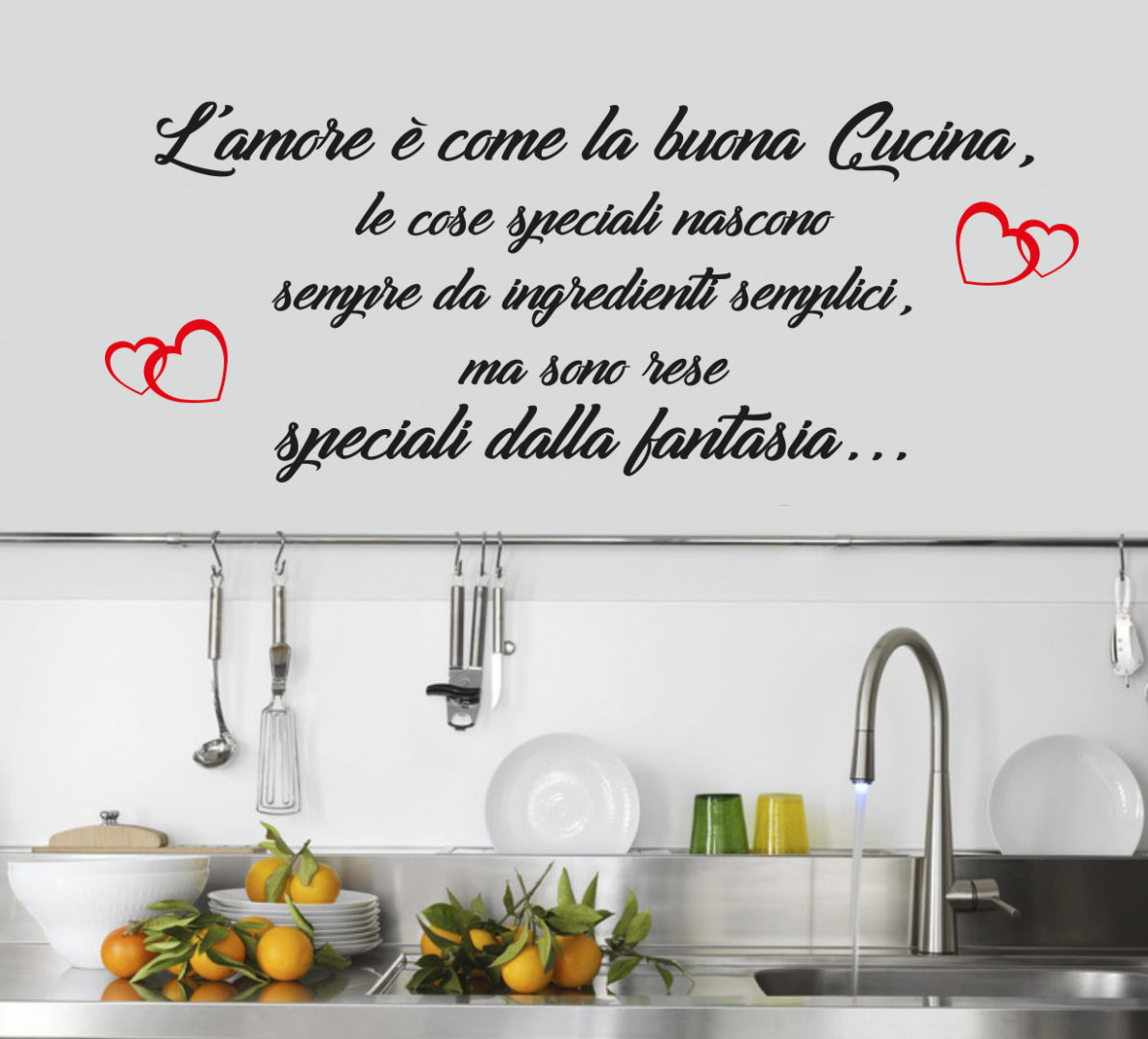 Sticker adesivo amore in cucina spotapplick stampa for Stickers cucina