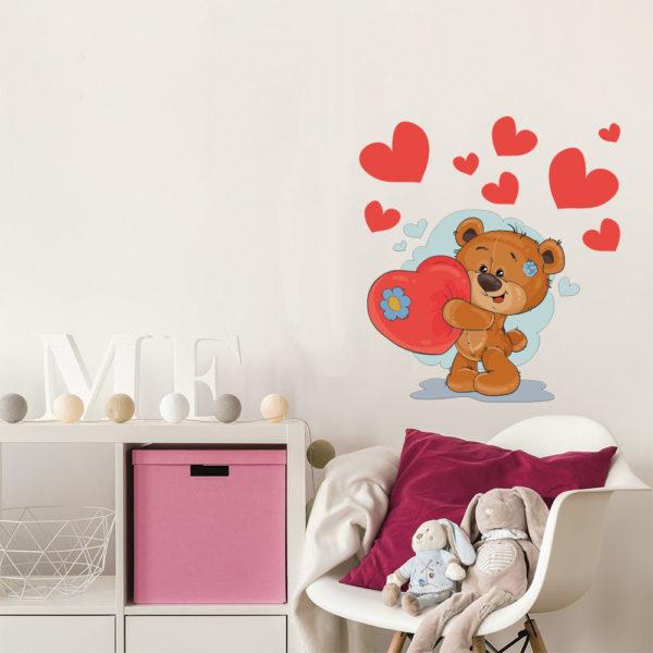 Sticker Adesivo Orso Con Cuori