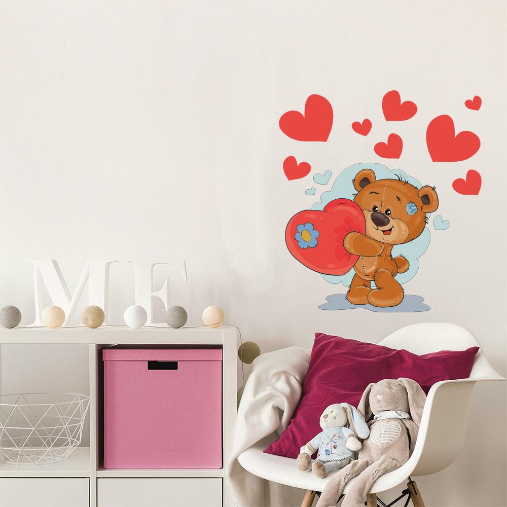 Sticker adesivo orso con cuori spotapplick stampa digitale decorazione automezzi - Stickers mobili ...