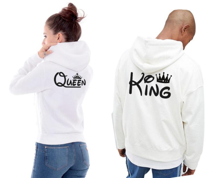 Coppia Felpa King Queen Cappuccio
